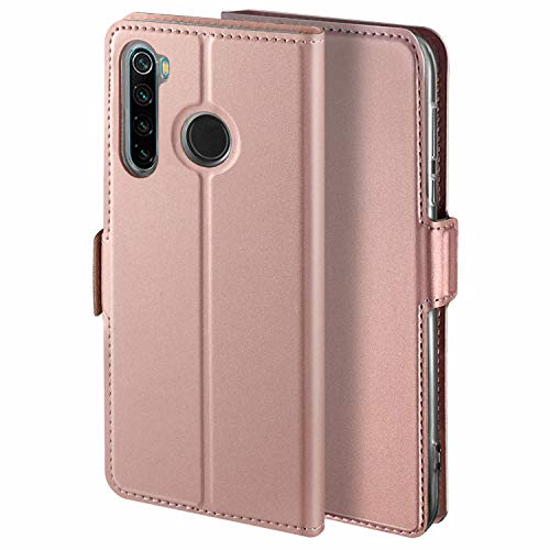 YATWIN Handyhülle für Xiaomi Redmi Note 8 Hülle Leder Premium Tasche Hülle für Redmi Note 8, Schutzhüllen aus Klappetui mit Kreditkartenhaltern, Ständer, Magnetverschluss, Rose Gold