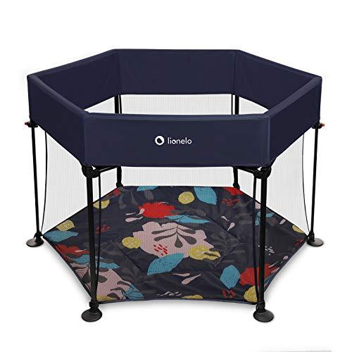 Lionelo Roel parque infantil bebe de 6 meses a 15 kg forma hexagonal 118 x 118 x 83 cm bloqueo de plegado LockGuard plegado rápido bolsa de transporte (Azul)