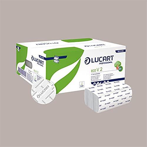 Lucgel Srl - 3800 toallas Eco de papel reciclado plegadas en V 21 x 21 cm para distribuidor