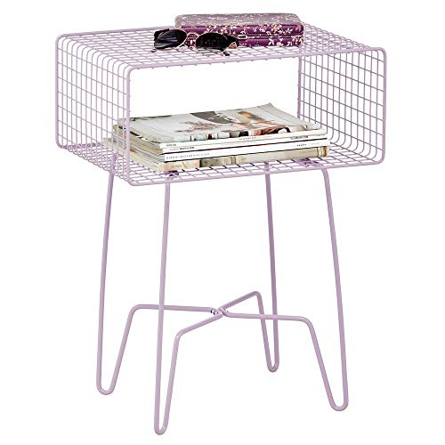 mDesign Modern Farmhouse Side/End Table - Metal Grid Design - Open Storage Shelf Basket, Hairpin Legs - Vintage, Rustic, Industrial Home Decor Accent Furniture for Living Room, Bedroom - Light Purple