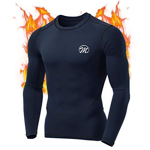 MeetHoo Maglia Termica Uomo, T-Shirt Manica Lunga Maglie Termiche Invernali da Sport Compression Baselayer per Corsa Ciclismo Calcio (Blu-2, M)