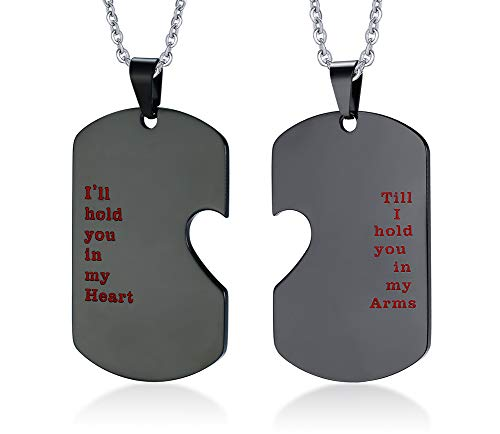PJ JEWELLERY His and Hers Stainless Steel Matching Heart Dogtag Love Quote Engraved Pendant Necklace, Gay Couples Necklace,Black