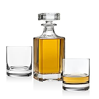 Whiskey Decanter set for Liquor Scotch Bourbon or Wine, Includes 2 DOF whisky glasses
