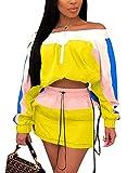 Women Colorblock 2 Piece Tracksuit Set Long Sleeve High Waist Pants Set Colour Sweatsuit Yellow