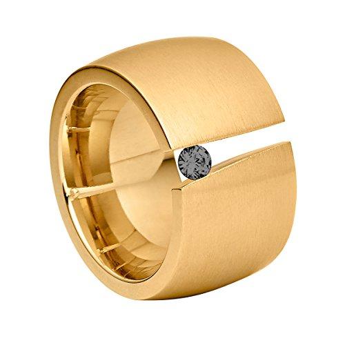 Heideman Ring Damen Aditus aus Edelstahl Gold farbend matt Damenring für Frauen mit Swarovski Stein Zirkonia schwarz im Brillant Schliff 3mm