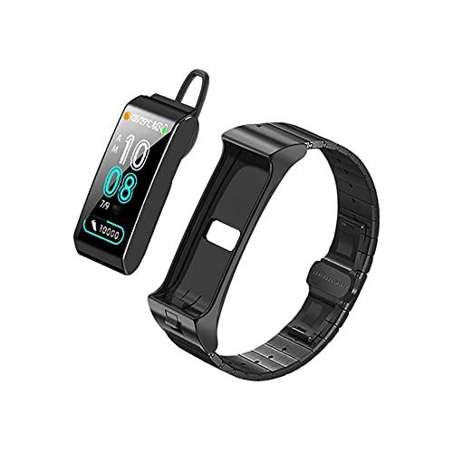 PFMY.DG Pulsera Inteligente Rastreador de Fitness con la función de recordatorio del Monitor de suspensión del podómetro 2 en 1 Auriculares Bluetooth SmartWatch