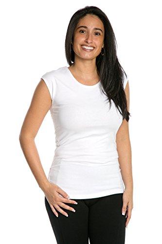 Heirloom Clothing Cap Sleeve Layering Tee Reversible Scoop, White, Size Medium