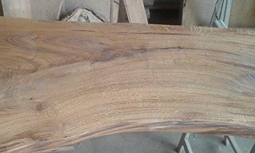 KJR Holzmanufaktur Tischplatte ca. 100x50x7 cm, Waschtisch, Geschliffen,Brett, Eiche, Wurmeiche, Alteiche, Beide Seiten Waldkante Ohne Rinde
