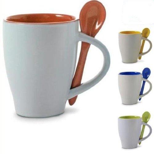 noTrash2003 Viererset zertifizierte Kaffeebecher 300 mL Kaffeetassen Haferl Kaffeepott mit Löffel aus Keramik Coffee