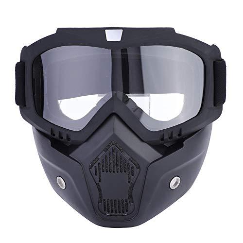 Motorrad Motorradhelm Maske Abnehmbare Maske Warm Anti-Fog Brille Verstellbarer Mundfilter Anti-Rutsch Riemen für Motocross, Skifahren, Reiten, Outdoor Sport default durchsichtig