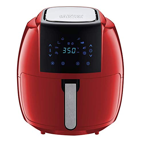 GoWISE USA 7-Quart 8-in-1 Digital Air Fryer with Recipe Book, 7.0-Qt, Red