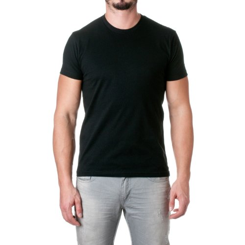 Camiseta masculina de manga curta com ajuste premium Next Level, Preto, X-Small