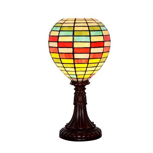 SPNEC Lámpara de Mesa de Estilo Europeo Creativo, Dormitorio + Resina lámpara de Mesa de la Sala de Cristal Retro del Globo de Aire Caliente Manchado