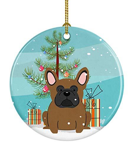 Caroline's Treasures BB4138CO1 Merry Christmas Tree French Bulldog Brown Ceramic Ornament, 3 in, Multicolor