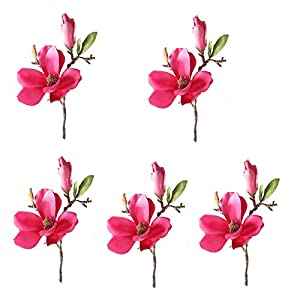 Gaoominy White + Pink Wedding Decoration Silk Flowers Orchid Magnolia Wedding Artificial Flowers for Home Decoration