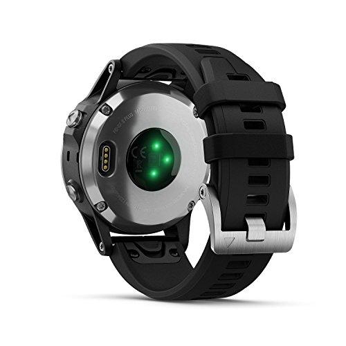 Garmin Fenix 5 Plus Silver Bracelet Noir - Montre GPS Multisports avec cartographie, Musique,...