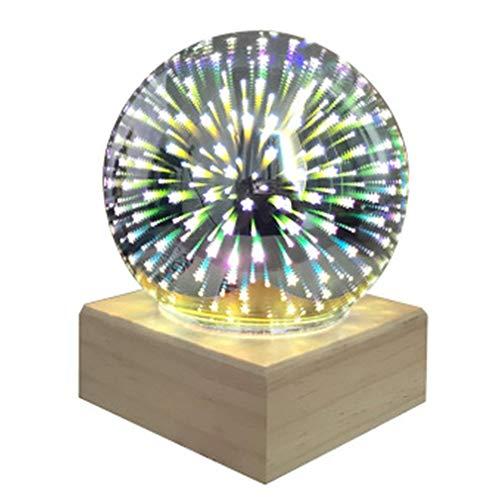 3D Bunte Kristallkugel Kristall Nachtlicht USB Plug-in LED Tischlampe (Sterne)