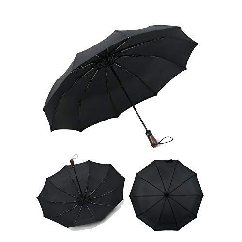 Yi-xir Komfortable Erfahrung Männer und Frauen Winddichte reflexive Regenfalte Holzgriff Retro Regenschirm Kompakter Reiseschirm (Color : Black)