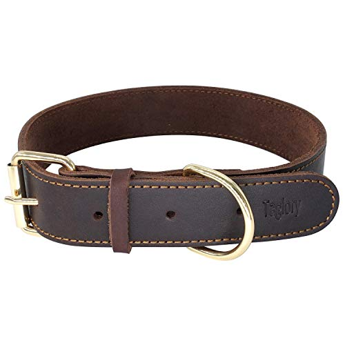 "Taglory 18-26"" Genuine Leather Dog Collars/Military Grade Dog Training Collar"