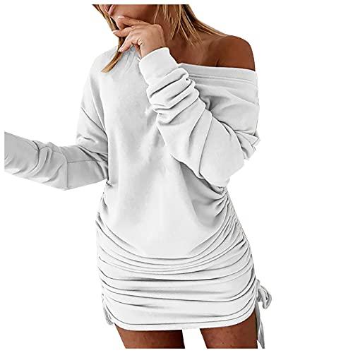 Vestido ajustado con cordn slido para mujer, vestido sexy y delgado con hombro abierto, blanco, XXL