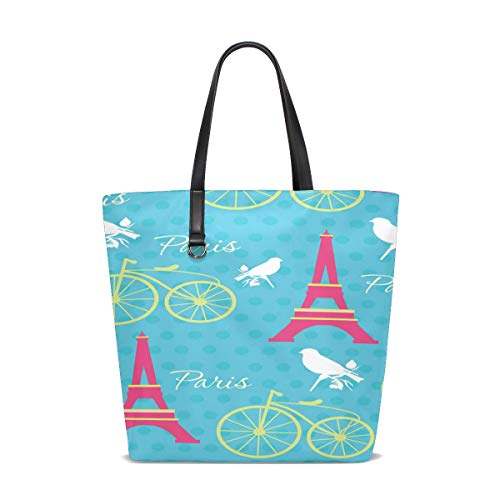 Damen Handtaschen Cartoon-Muster Paris Eiffelturm Polyester Stoff Schultertasche