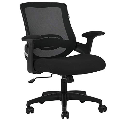 Hbada Bürostuhl, ergonomischer Schreibtischstuhl mit Lendenwirbelstütze, atmungsaktiver Netzstoff-Rücken und Armlehne, höhenverstellbarer Computerstuhl mit Schaukeln, schwarz