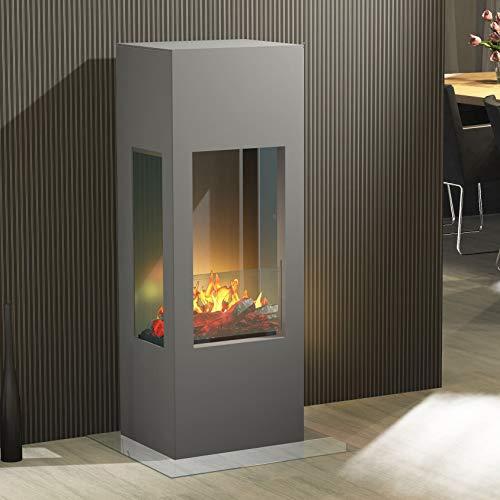 muenkel design Prism Fire - Chimenea eléctrica OPTI-myst (Heat), 3 Caras, Aluminio, Color Gris