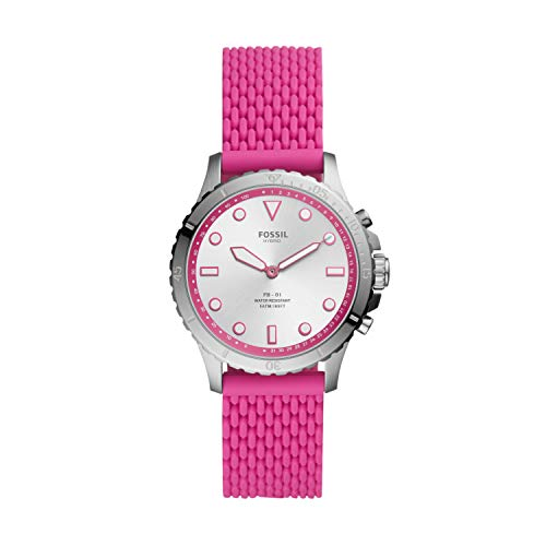 Fossil Women's FB-01 Stainless Steel Hybrid Smartwatch, Color: Silver/Pink (Model: FTW5067)