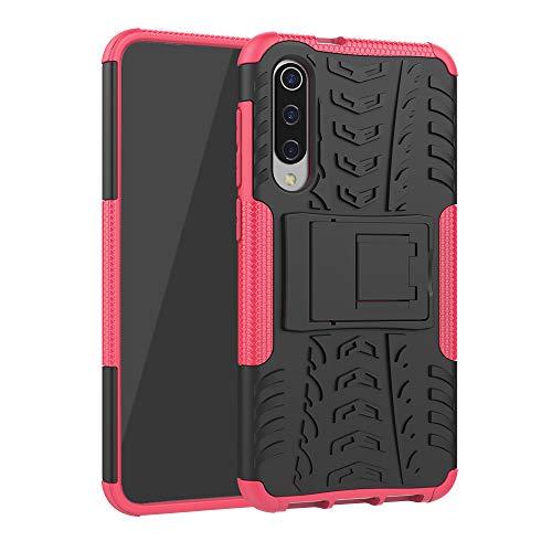 MOSORIS Funda para Xiaomi MI 9 Rojo Claro Telefono Cover Dura PC + Suave TPU Silicone 2 en 1 Doble Proteccion con Soporte Invisible, Ultra Film Delgada Carcasa Absorción de Golpes Caso