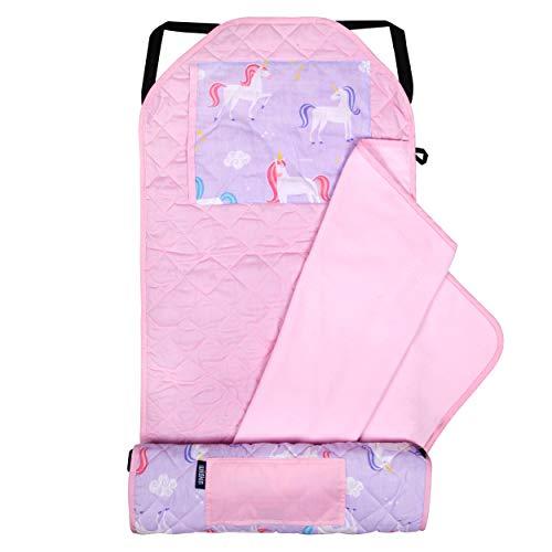 Wildkin Kids Modern Nap Mat with Pillow for Toddler Boys & Girls, Ideal for Daycare & Preschool, Features Elastic Corner Straps, Cotton Blend Materials Nap Mat for Kids, BPA-free (Unicorn)
