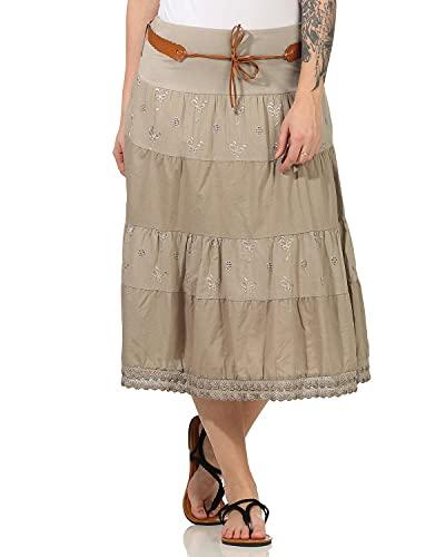 ZARMEXX Gonna in cotone da donna Gonna estiva Gonna decorata Lunghezza al ginocchio con cintura in cotone (cappuccino, 40-46)