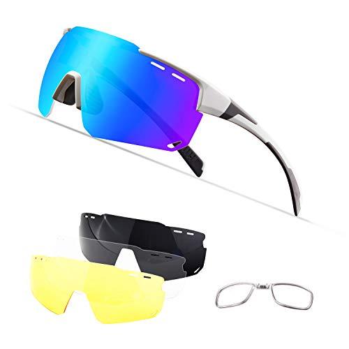 OULIQI Radbrille Polarisierte Sportbrille Fahrradbrille mit UV-Schutz 4 Wechselgläser für Herren Damen, für Outdooraktivitäten wie Radfahren Laufen Klettern Autofahren Angeln Golf (Weiß grau)