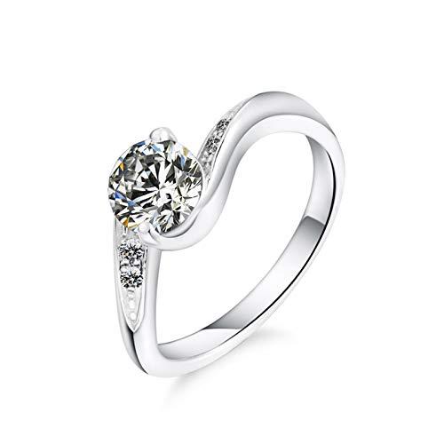 ANAZOZ Silber Damen Ring Solitärring Verlobungsring Hochzeit Ring Trauringe Eheringe Runder, Geschlungener 0,8 Karat Diamant Damen Ringe Zeigefinger Silber Größe:52 (16.6)