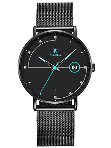 XLORDX Herren Uhren Männer Militär Wasserdicht Sport Schwarz Edelstahl Armbanduhr Design Business Blau Datum Analog Quarz mit Strass