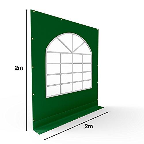 TOOLPORT PVC Seitenteil für Partyzelt Pavillon Gartenzelt 2x2m Seitenwand mit Fenster (rundbogen) dunkelgrün