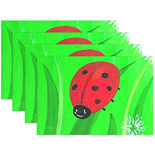 hengpai Baby Ladybug Placemats Heat-resistant Washable Table Place Mat for Kitchen Dining Room,Set of 6