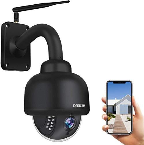 Telecamera di sicurezza IP Dericam PTZ WiFi, telecamera esterna CCTV di sorveglianza 1080P, zoom ottico 4X, visione notturna, rilevazione di movimento, IP65 resistente all'acqua, nero