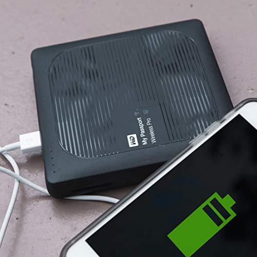 WD My Passport Wireless Pro 1TB, drahtlose tragbare externe Festplatte mit USB Power bank, SD 3.0 Kartenleser, SATA, WDBVPL0010BBK-EESN