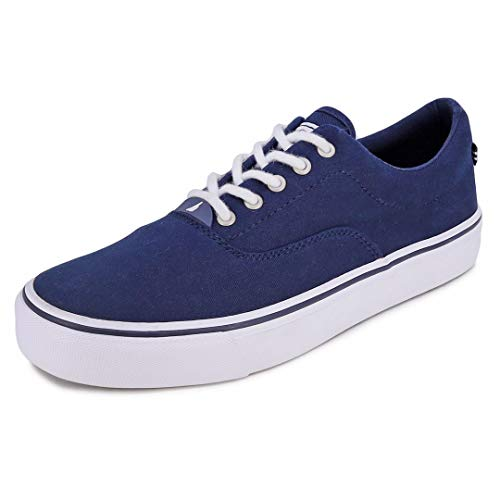 Nautica Men's Lace-Up Martial Boat Shoe, Casual Loafer, Fashion Sneaker, Low Top Active-Aegan-Navy-8.5
