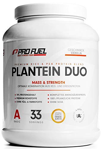 PLANTEIN DUO | Premium Protein-Mix auf pflanzlicher Basis | 100% Vegan Protein Powder & High Protein | Cremig & Lecker | Made in Germany | 1kg - (Vanille)