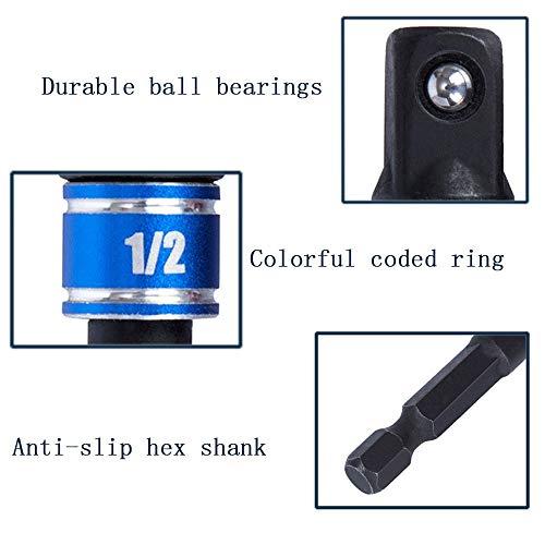 CIGOTU Impact Grade Power Hand Tools Driver Sockets Adapter Extension Set, 3Pcs 1/4 3/8 1/2