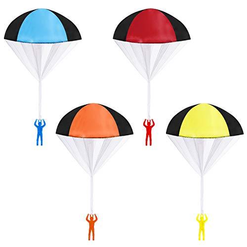 MengH-SHOP Paracaídas Juguete Mano Que Lanza Juguete de Paracaidista Set Aire Libre Juguetes voladores Regalo para Niños 4 Piezas