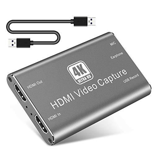 Scheda di Acquisizione Video HDMI,1080P 60FPS 4K HDMI Video Capture Card,HDMI to USB 3.0 HD Capture Card per Live Streaming Registrazione di Giochi Condivisione Dello Schermo, Switch/Xbox (Gray)