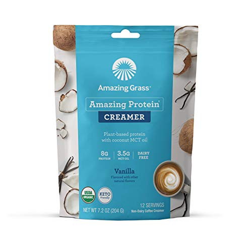 Amazing Grass Amazing Protein Creamer, Plant-Based Protein with Coconut MCT Oil, Vanilla, 12 Servings