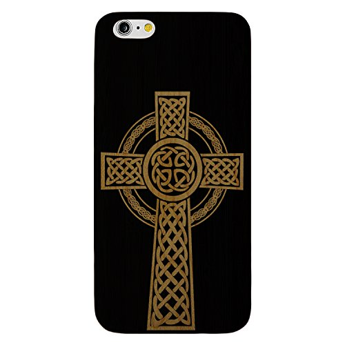 Laser Engraved Wood Case for Apple iPhone Samsung Galaxy Spiritual Celtic Cross Halo for iPhone 7 Plus Black Case