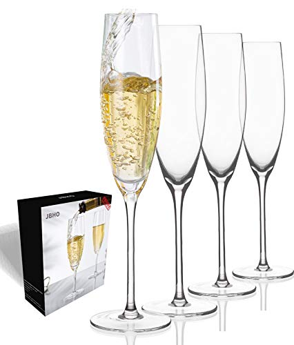 JBHO Hand Blown Crystal Champagne Flutes - Lead-Free Premium Crystal Clear Glass - Set of 4-7.13 Ounce(211 ml) - 9.84'' Tall - Perfect Size Champagne Glasses - Gift-Box for any Occasion