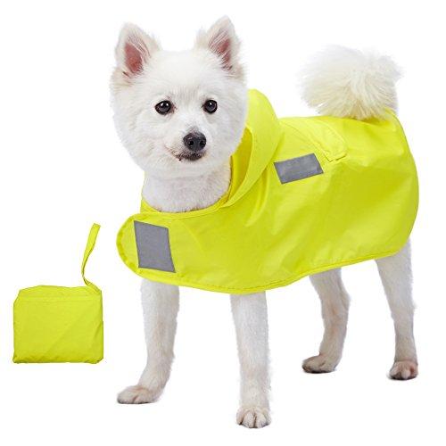 Blueberry Pet 36cm Leichter Verstaubarer Kapuzen-Hunde-Regenmantel Poncho mit 3M Reflektor-Sicherheitsstreifen in Sonnengelb, Einzelpackung Outdoor Regenjacke für Hunde