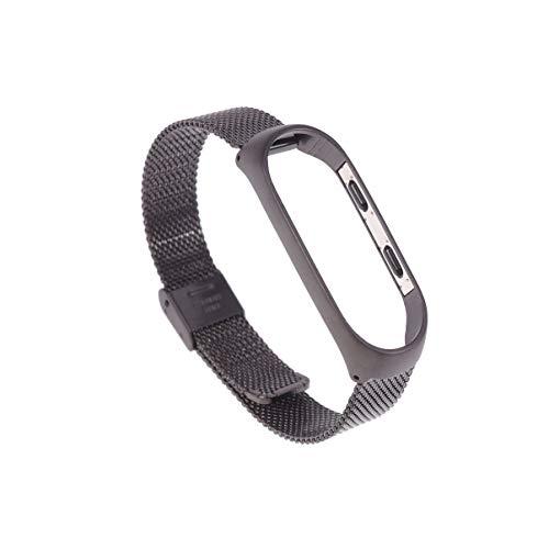 Hemobllo Reemplazo de pulsera compatible con Xiaomi 4 Acero Inoxidable Correa de metal de reemplazo universal para hombres mujeres compatible con Mi-Band 4 (Milan-Band negro)