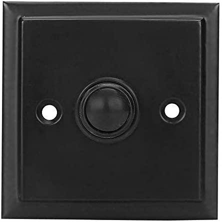 Iron Door Bell Push Button Black Powder Coat Wired Iron Square Door Bell Chime Push Button Black product image