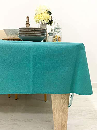 Mantel Antimanchas Rectangular Efecto Lino, Tela algodón resinado, plastificado (Teflón). 14 Colores. Hule plastificado...